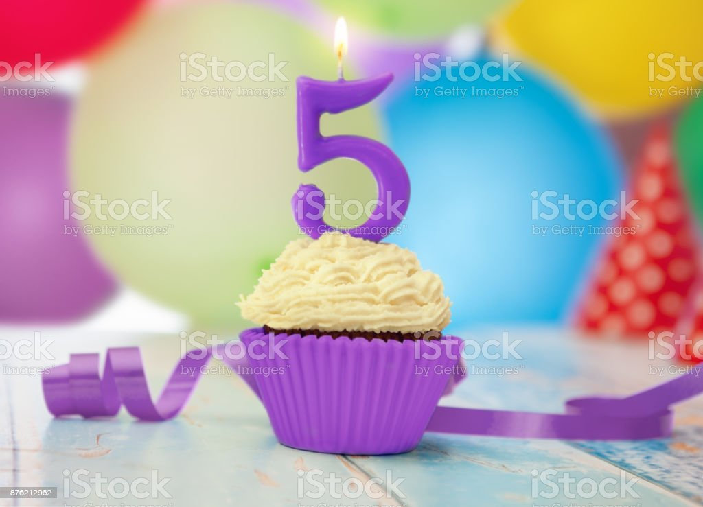 Birthday Candle With Number 5 On Cupcake Royalty Free Stock Photo