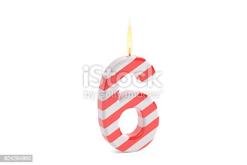 istock Birthday candle with number 6, 3D rendering 624264950