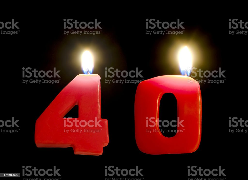 Birthday Candles at the age of 40s on black background royalty-free stock photo