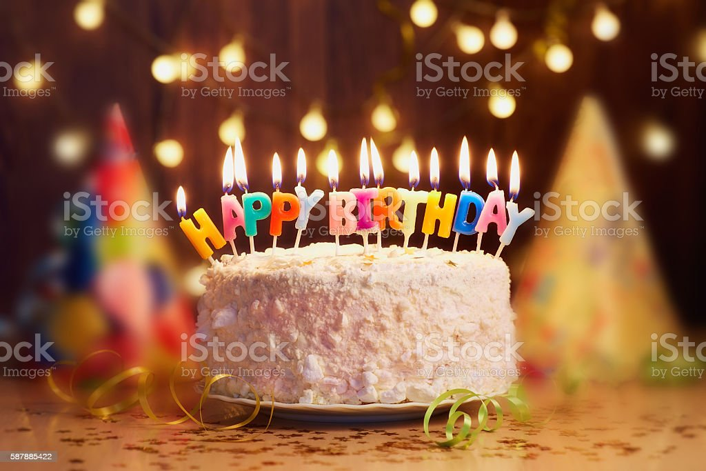 birthday candles close up bokeh background stock photo