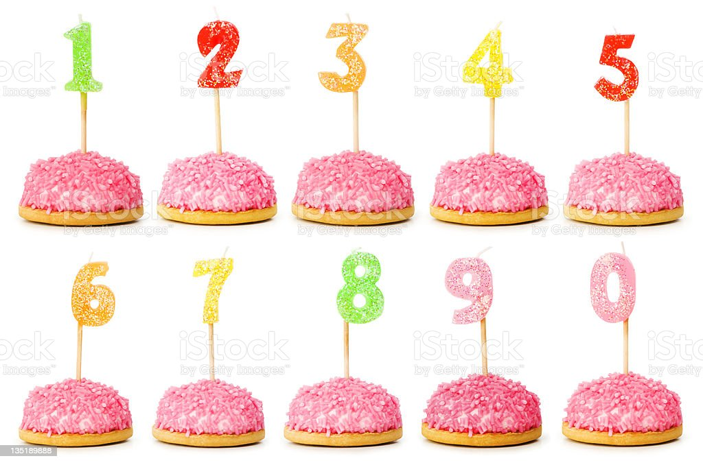 Birthday candles isolated on the white stock photo