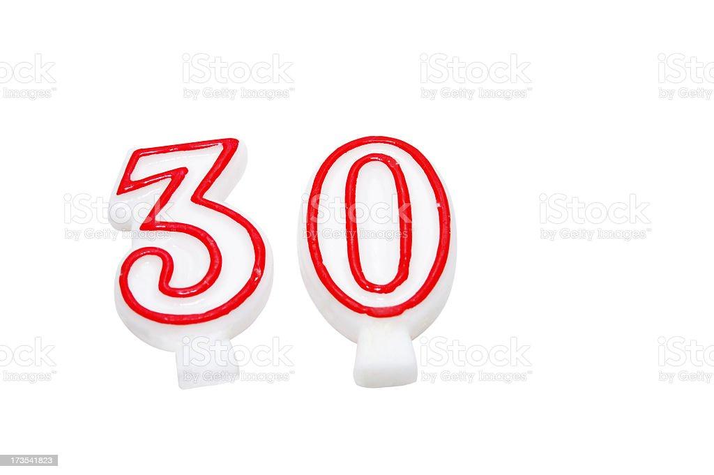 Vela de cumpleaños Aislado en blanco - foto de stock