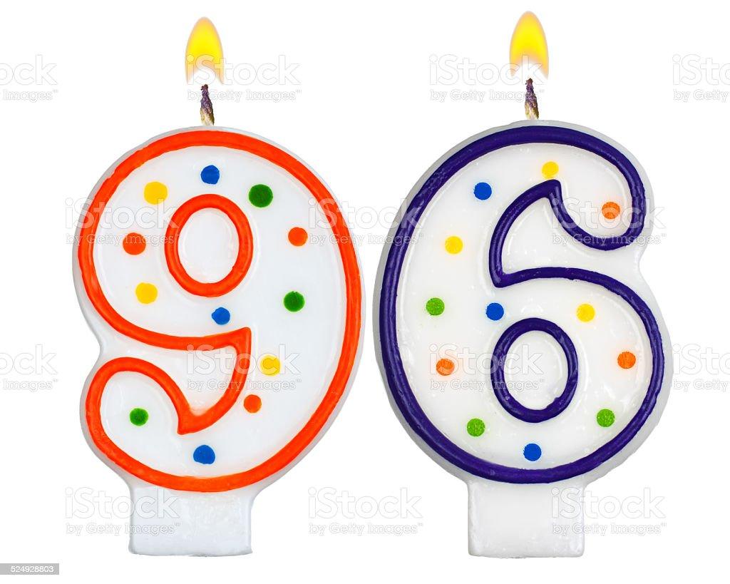 Birthday candles number ninety six isolated on white background stock photo
