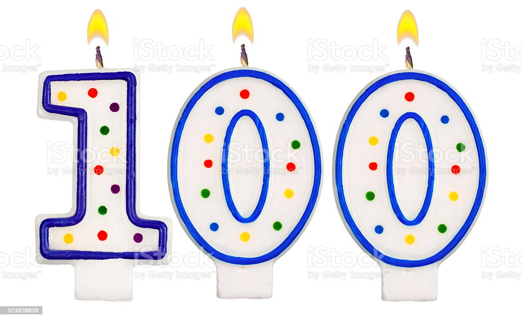 Birthday candles number one hundred isolated on white background stock photo