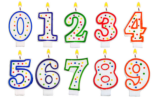 Birthday candles number set isolated on white background Birthday candles number set isolated on white background number 7 stock pictures, royalty-free photos & images