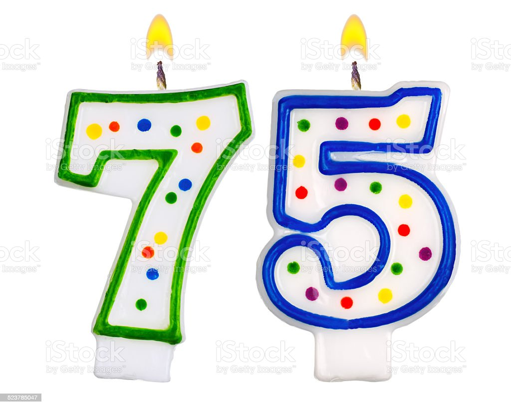 Birthday candles number seventy five isolated on white stock photo