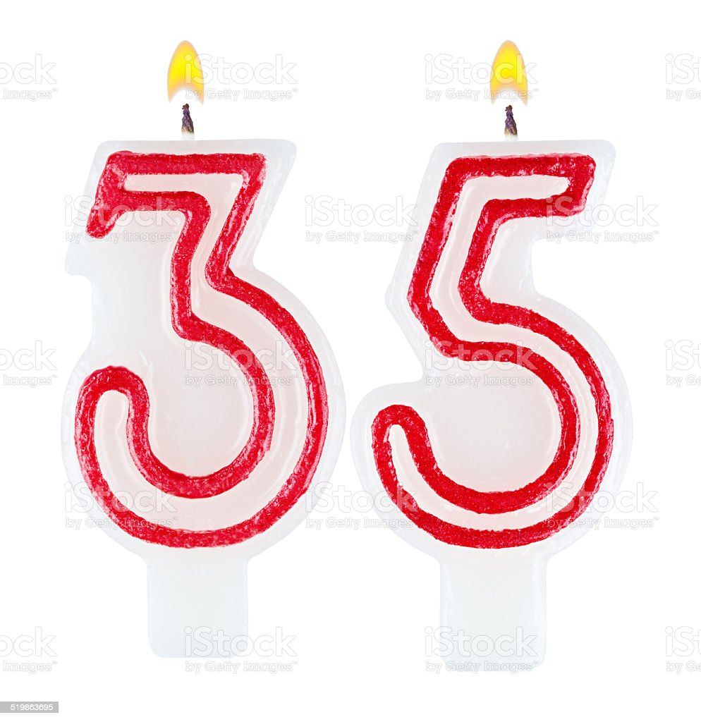Birthday candles number thirty five isolated on white background stock photo
