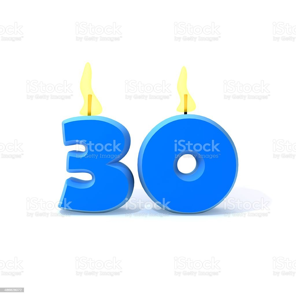 Velas de cumpleaños número 30 - foto de stock