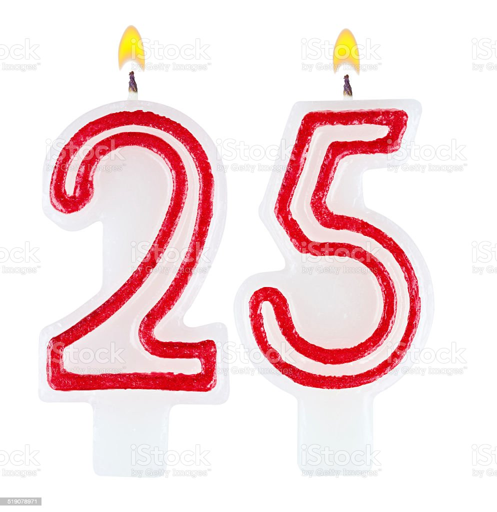 Birthday candles number twenty five isolated on white background stock photo