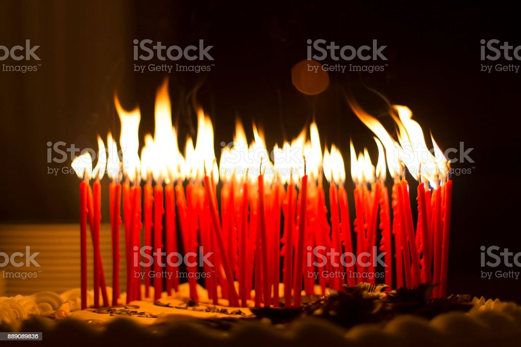 Birthday Candles On A Cake Royalty Free Stock Photo