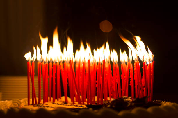 Birthday Candles On A Cake Stock Photo