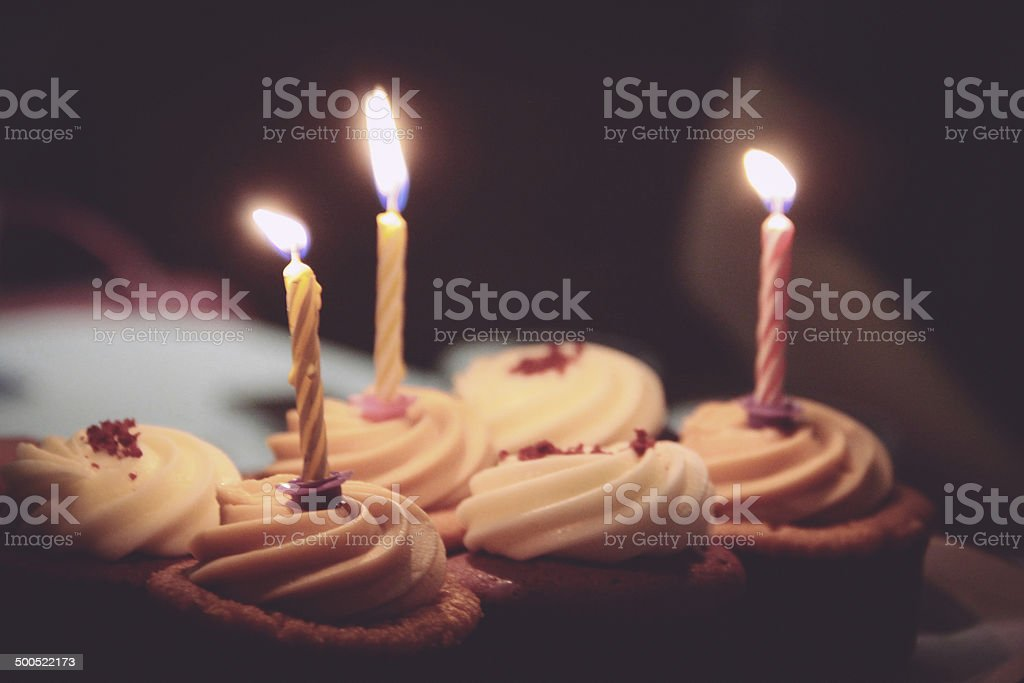 Birthday Candles on Cupcakes stock photo