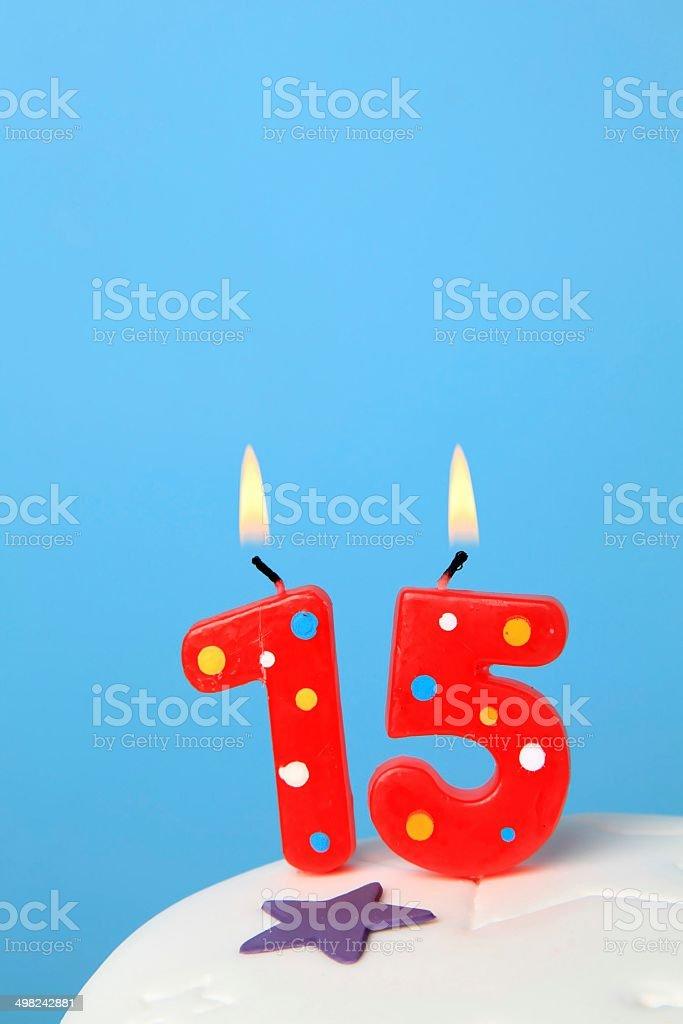 15 Birthday candles stock photo