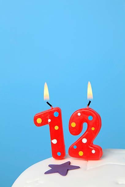 12 Birthday Candles Stock Photo