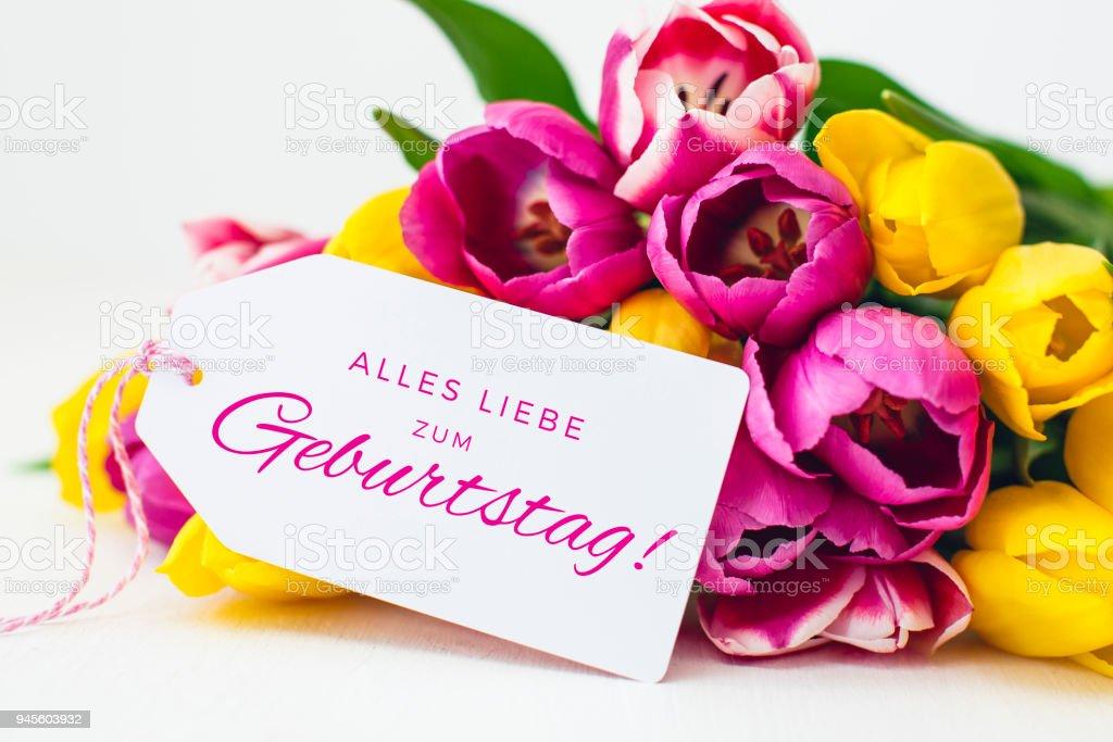 Geburtstagskarte - Rosa und gelbe Tulpen – Foto