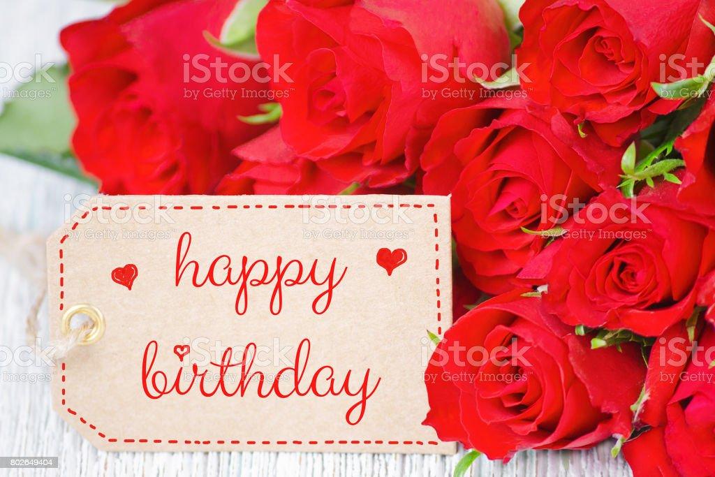 Geburtstag Karte Rote Rosen Und Ein Label Mit Text Zum Geburtstag