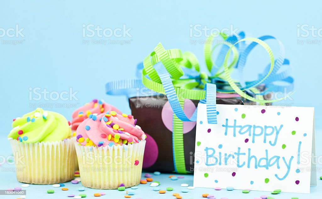 Birthday Card with Gift royalty-free stock photo