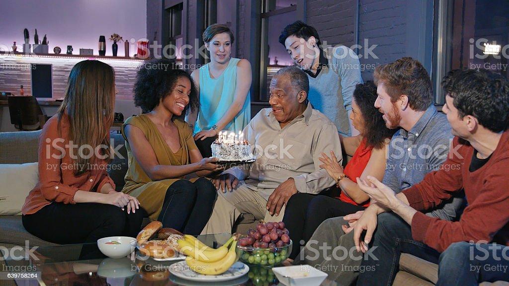 Birthday Celebration for Senior African-American Man stock photo