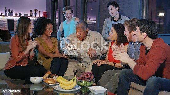 istock Birthday Celebration for Senior African-American Man 640898928