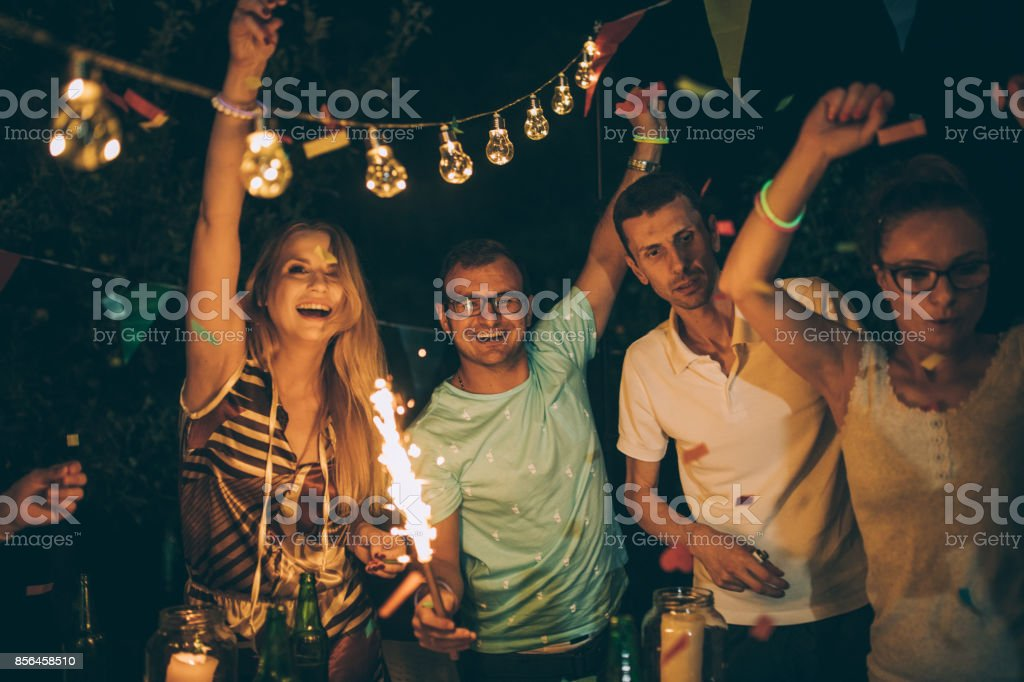 Birthday celebration outdoors stock photo