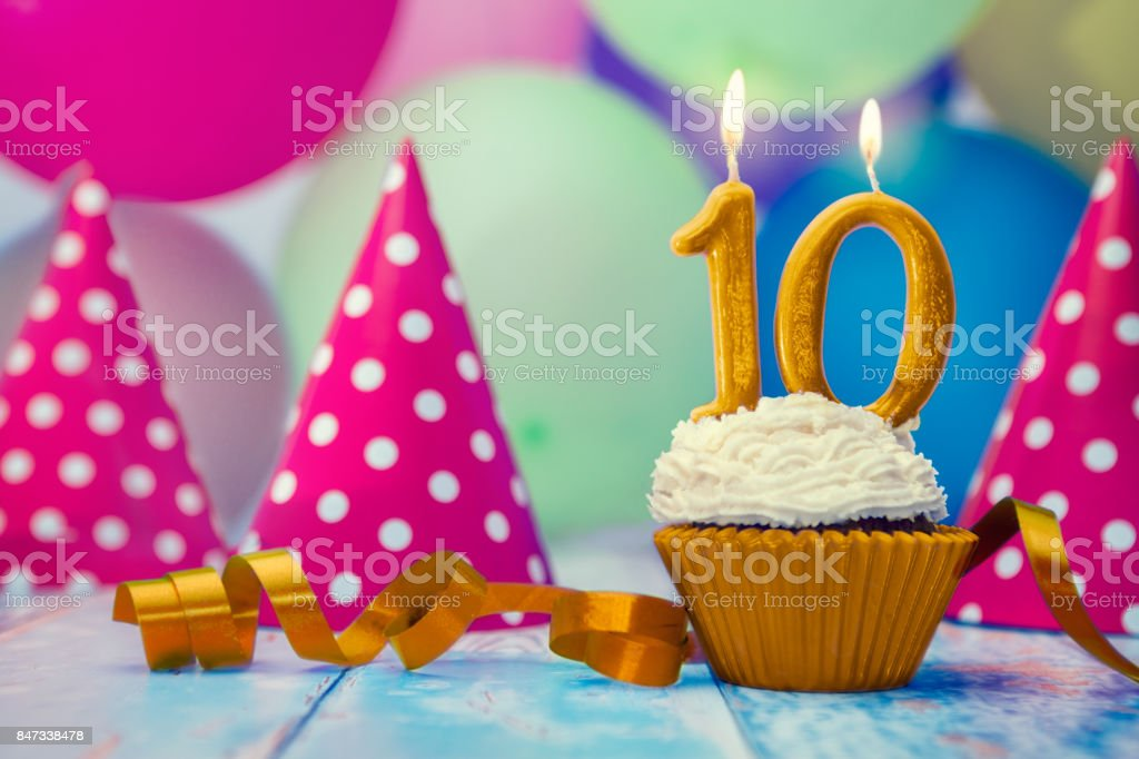 Birthday celebration with cupcake and candle royalty-free stock photo