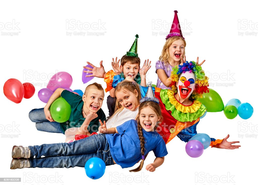 Birthday Child Clown Playing With Children Kid Holiday Cakes Celebratory Royalty Free Stock