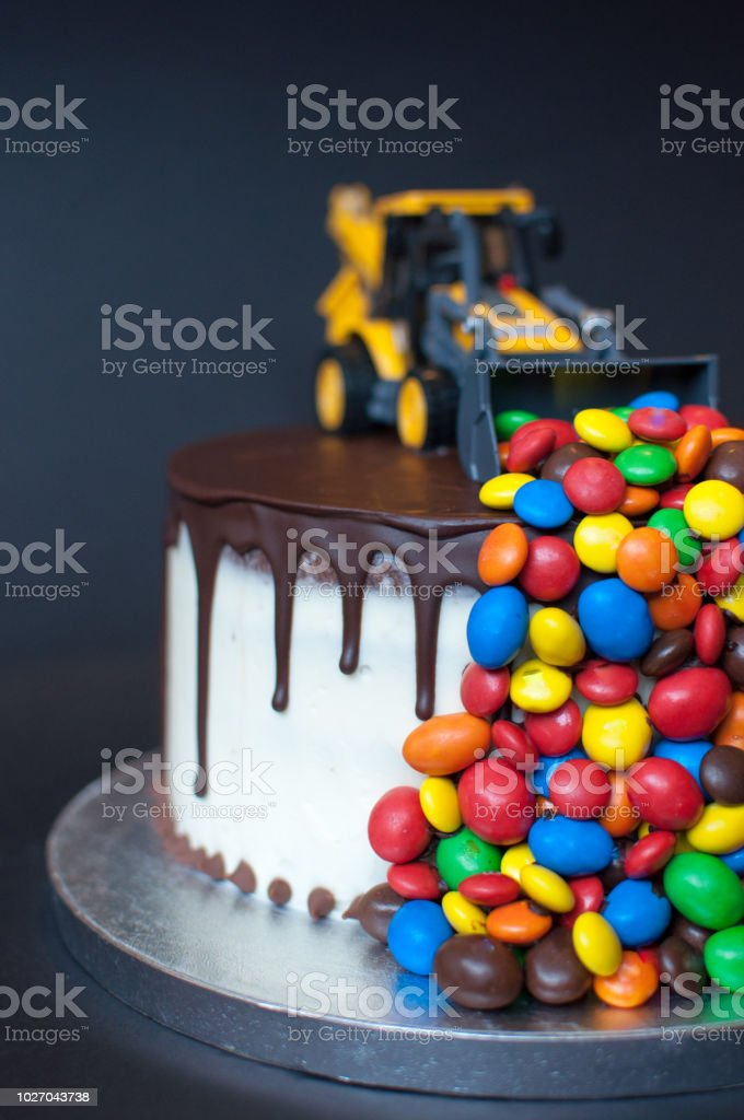 Birthday Chocolate Cake With Tractor On Top