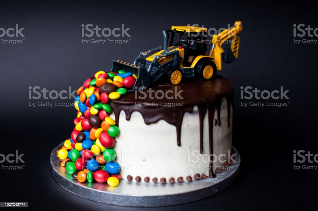 Birthday Chocolate Cake With Tractor On Top Royalty Free Stock Photo