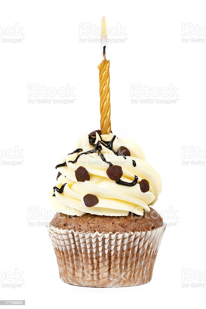 Birthday Chocolate cupcake royalty-free stock photo