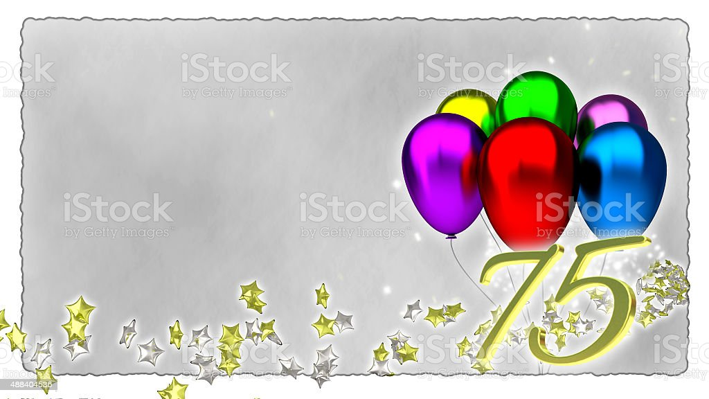 birthday concept with colorful baloons - 75th stock photo