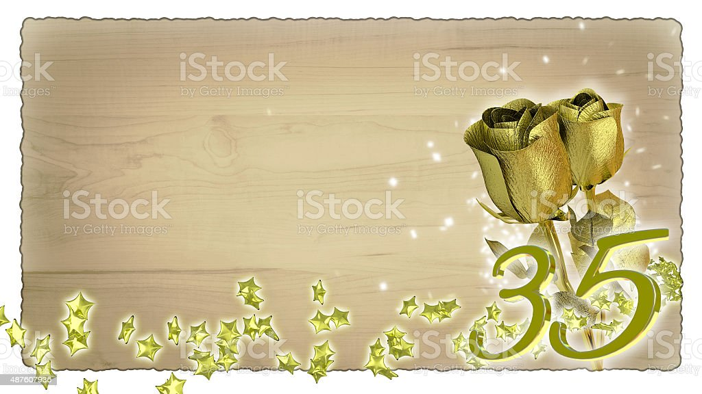 birthday concept with golden roses and star particles - 35th stock photo