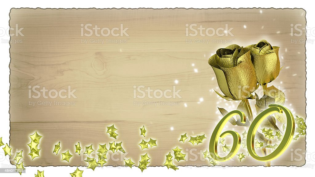 birthday concept with golden roses and star particles - 60th stock photo