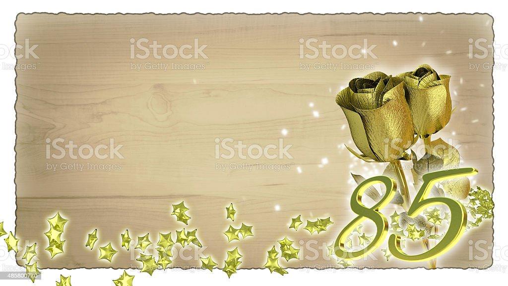 birthday コンセプトにゴールドのバラと星の粒子-85th ストックフォト