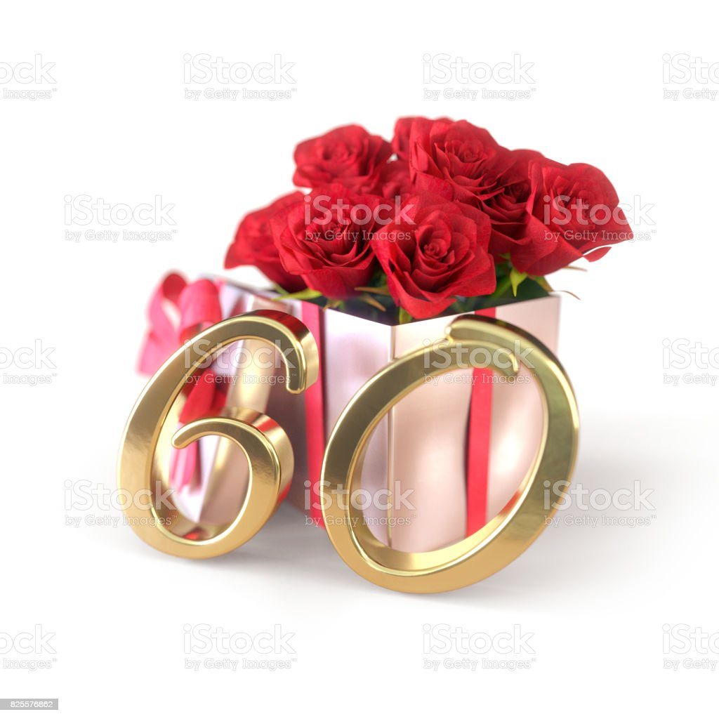 birthday concept with red roses in gift isolated on white background. sixtieth. 60th. 3D render stock photo