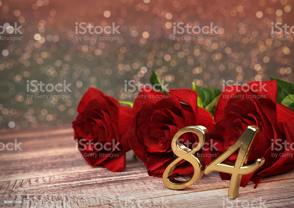 birthday concept with red roses on wooden desk. eighty-fourth ストックフォト