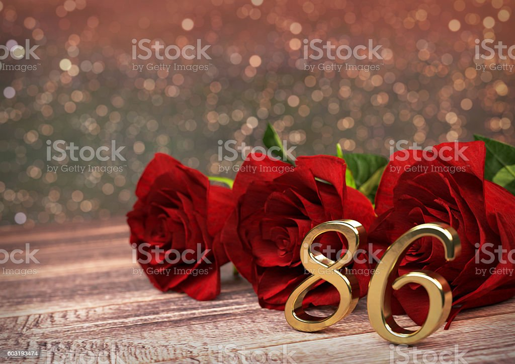 birthday concept with red roses on wooden desk. eightysixth. 86th ストックフォト