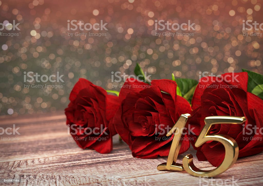 birthday concept with red roses on wooden desk. fifteenth. 15th stock photo