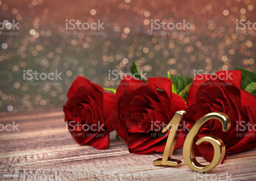 birthday concept with red roses on wooden desk. sixteenth. 16th stock photo