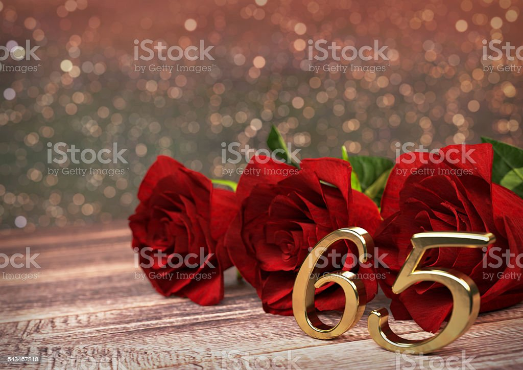 birthday concept with red roses on wooden desk. sixtyfifth. 65th stock photo