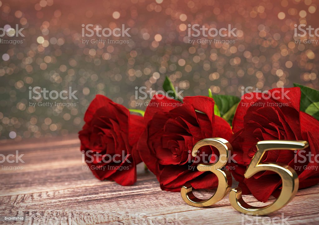 birthday concept with red roses on wooden desk. thirtyfifth. 35th stock photo