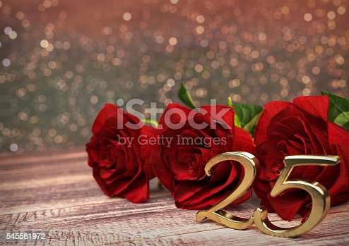 istock birthday concept with red roses on wooden desk. twentyfifth. 25th 545581972
