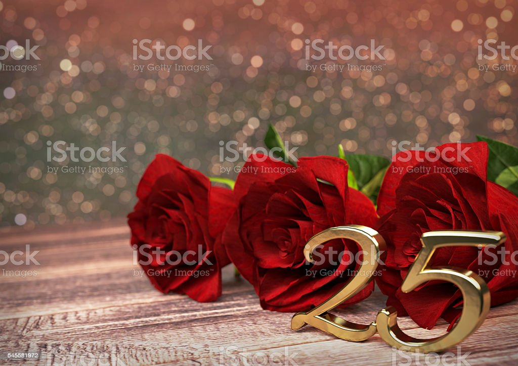 birthday concept with red roses on wooden desk. twentyfifth. 25th stock photo