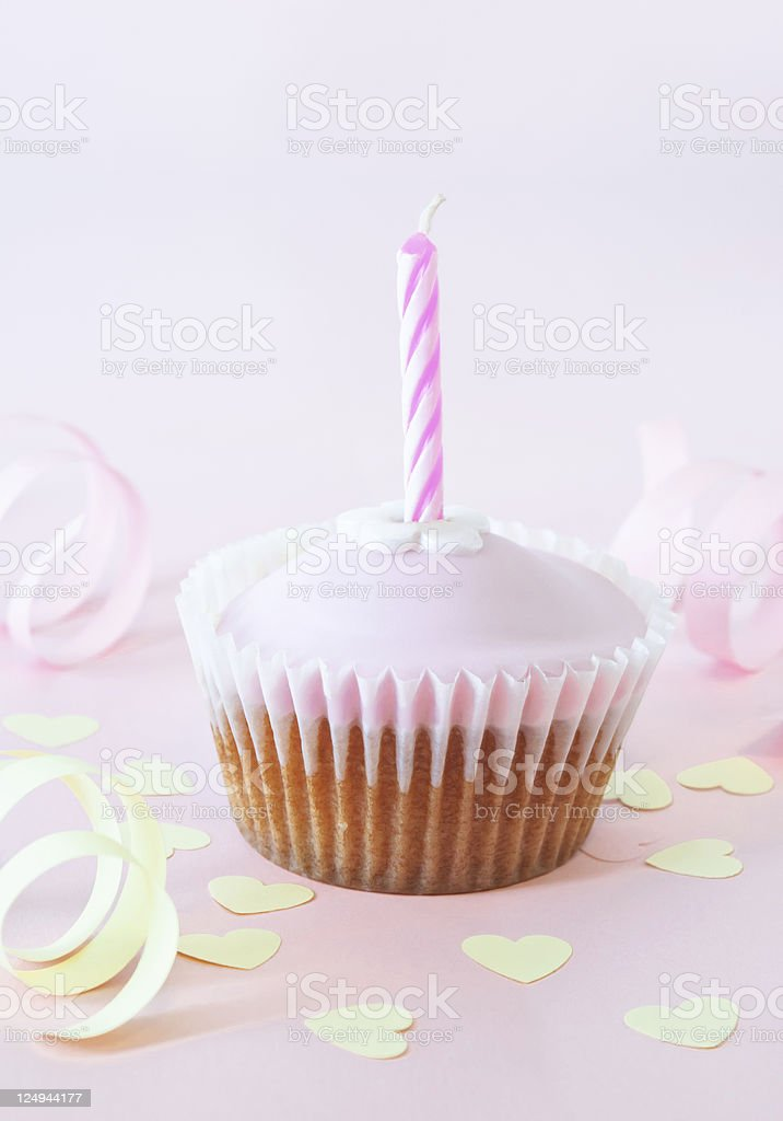 Birthday Cup Cake with Candle royalty-free stock photo