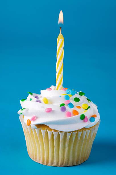 geburtstag cupcake - nummer 1 kuchen stock-fotos und bilder