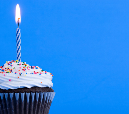 Macro shot of birthday cupcake with space for your message.