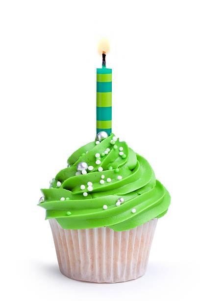 geburtstag cupcake - geburtstagskerze stock-fotos und bilder