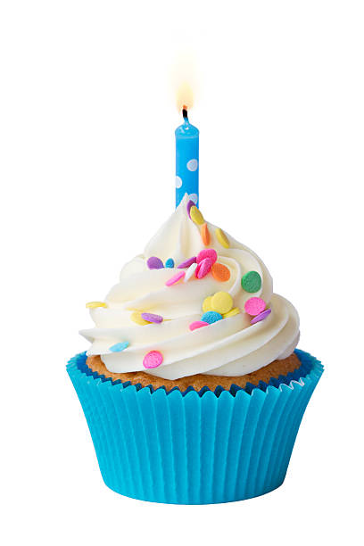 birthday cupcake - single object stock pictures, royalty-free photos & images