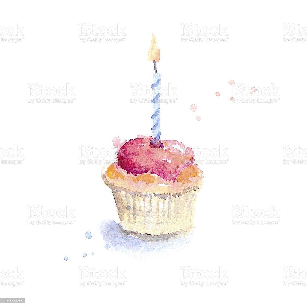 Geburtstag Cupcake Stock Fotografie Und Mehr Bilder Von Aquarell