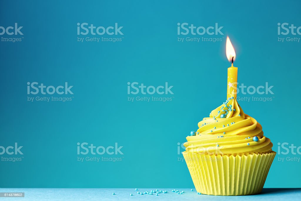 Birthday cupcake stock photo