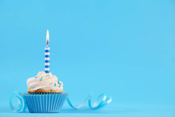 birthday cupcake birthday cupcake birthday candle stock pictures, royalty-free photos & images